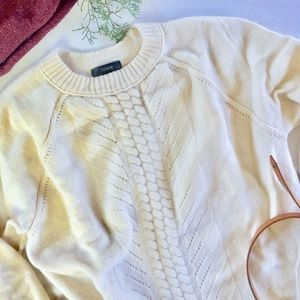 J.Crew Wool Pointelle Cable Sweater